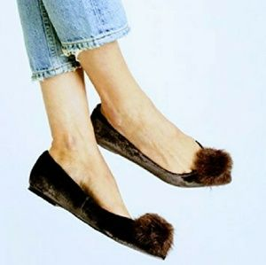Sam Edelman 'Raddie Pom Flats' Velvet Pointed Toe